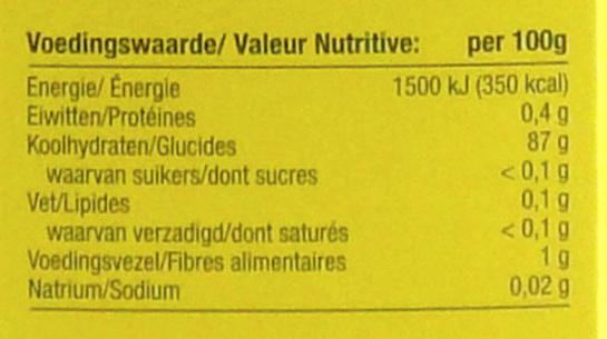 - Informação nutricional