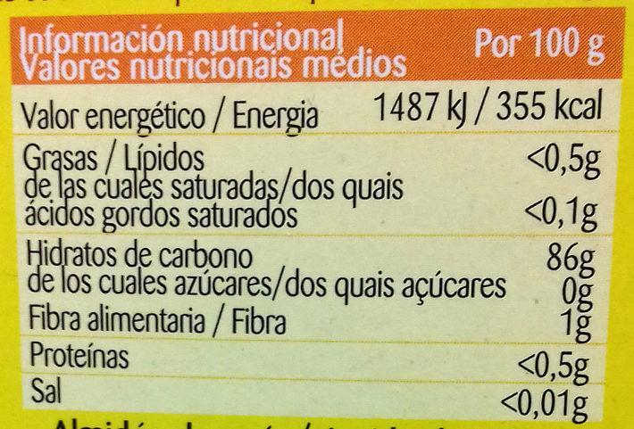 Maizena - Información nutricional
