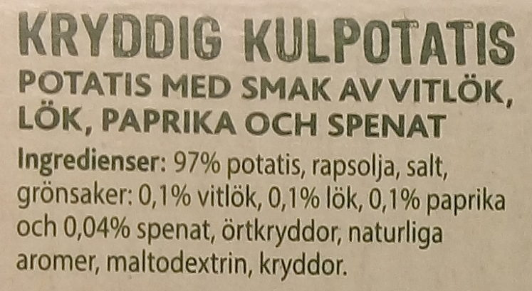 Peka Kryddig kulpotatis - Ingredients