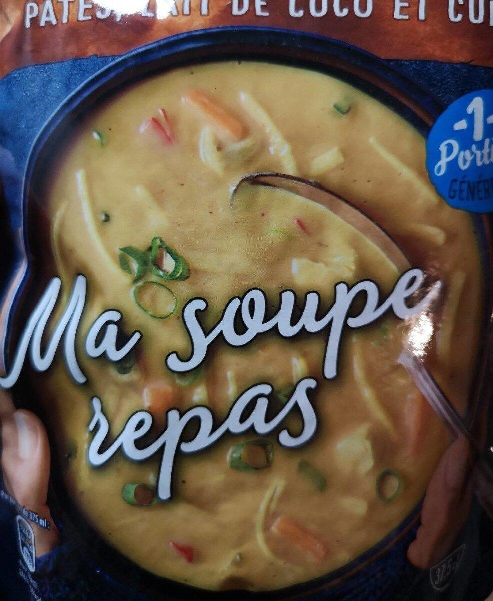 Soupe légumes volaille, pâtes, lait lait de coco et curry - Product