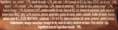 Soupe légumes volaille, pâtes, lait lait de coco et curry - Ingredients