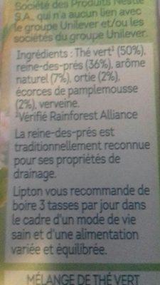 Lipton Thé Vert Detox 10 Capsules - Ingrédients