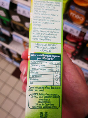 Lipton Thé Vert Detox 10 Capsules - Informations nutritionnelles