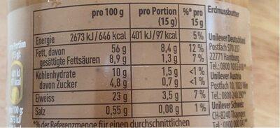 Erdnussbutter - Nährwertangaben - de