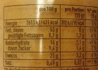 Erdnussbutter - Informations nutritionnelles
