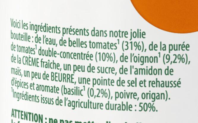 Knorr Comme à La Maison Soupe Liquide Tomates Pointe de Basilic Bouteille 45cl - Ingredientes - fr