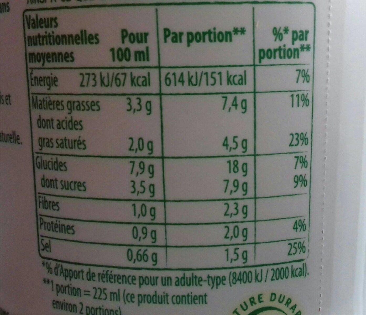 Knorr Comme à La Maison Soupe Liquide Légumes du Potager - Informazioni nutrizionali - fr