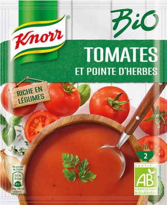 Knorr Soupe Liquide Bio Tomates et Pointe d'Herbes Sachet 45g 2 Portions - Producto - fr
