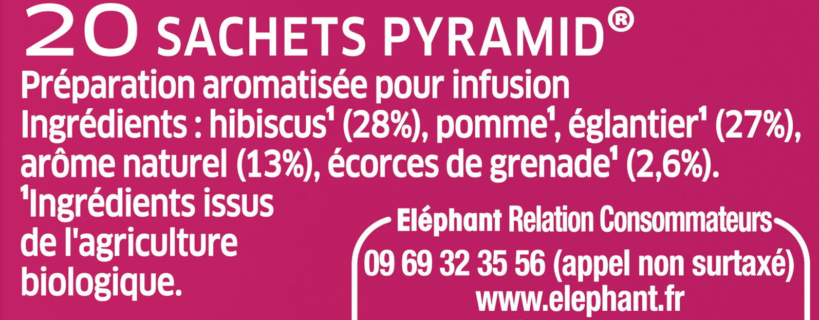Elephant Bio Tisane Grenade Hibiscus 20 Sachets - Ingrédients - fr