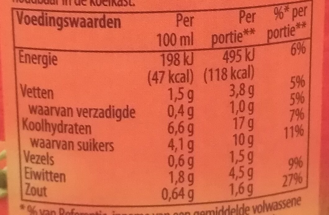 Stevige Tomaten Soep - Nutrition facts - nl