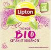 Lipton Thé Noir Bio Ceylan et Bergamote 20 Sachets - Product