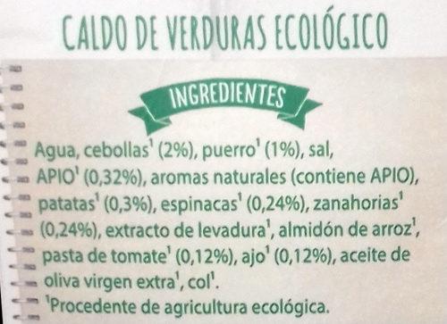 Eco caldo de verduras ecológico, sin gluten y sin lactosa - Ingrédients