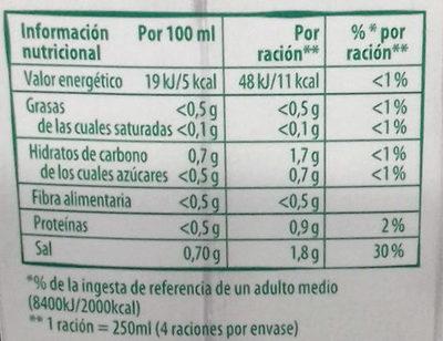 Caldo de verduras ecológico - Información nutricional