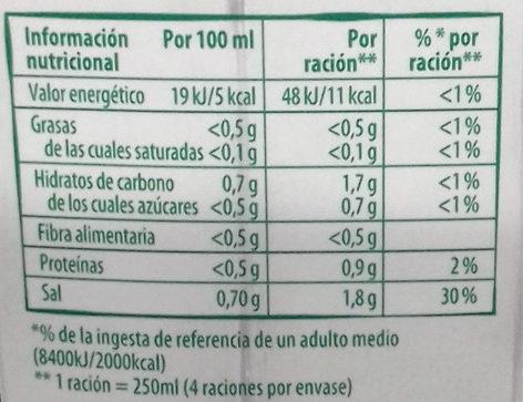 Eco caldo de verduras ecológico, sin gluten y sin lactosa - Informations nutritionnelles