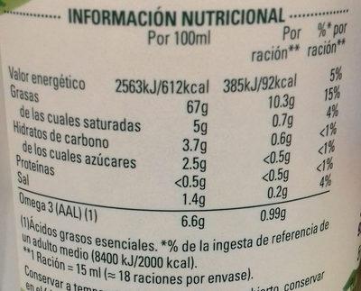 Vegana frasco 578 g - Información nutricional - es