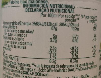 Hellman's Vegana sin huevo - Información nutricional - es