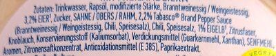 Hellmann's Chili Fired by Tabasco® - Zutaten - de