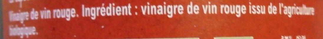 Amora Vinaigre Bio de Vin Rouge - Ingrédients - fr