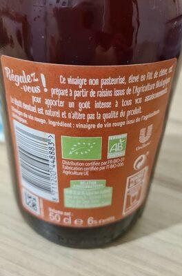 Amora Vinaigre Bio de Vin Rouge - Nutrition facts - fr