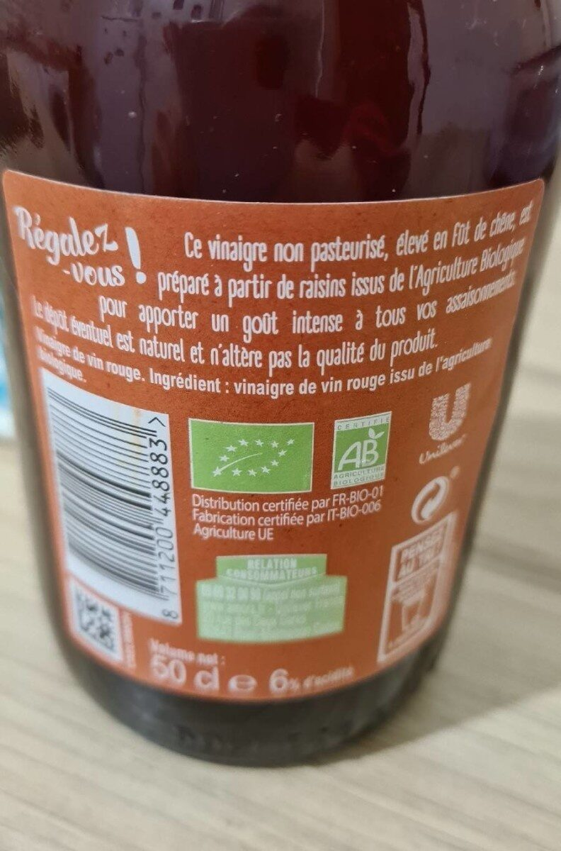 Amora Vinaigre Bio de Vin Rouge - Informations nutritionnelles - fr