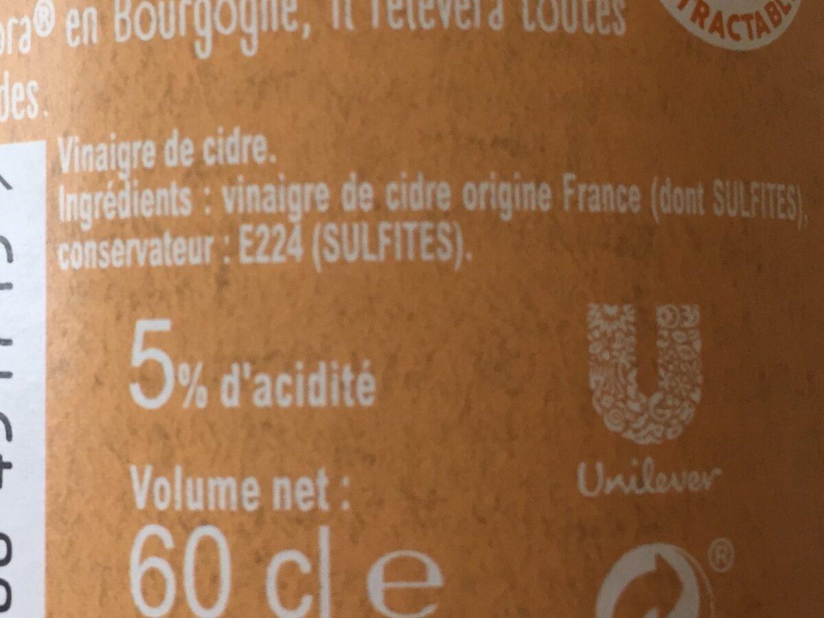 Amora Vinaigre Français de Cidre Bouteille - Ingrédients - fr
