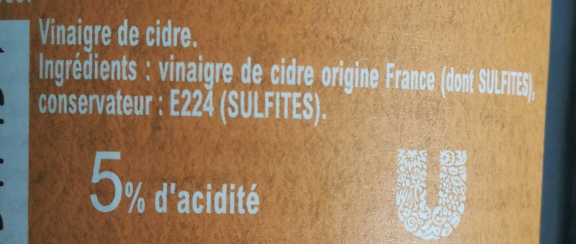 Amora Vinaigre Français de Cidre Bouteille - Informations nutritionnelles - fr