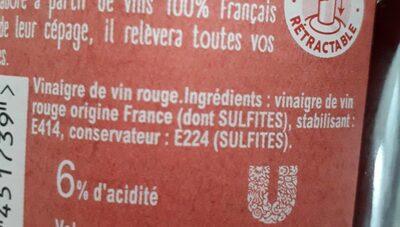 Amora Vinaigre Français de Vin Rouge Bouteille - Informations nutritionnelles - fr