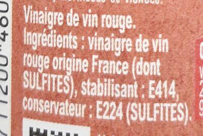 Amora Vinaigre Français de Vin Rouge - Ingredients - fr