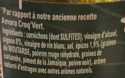 Amora Cornichons Extra Fin Bocal - Ingredients - fr