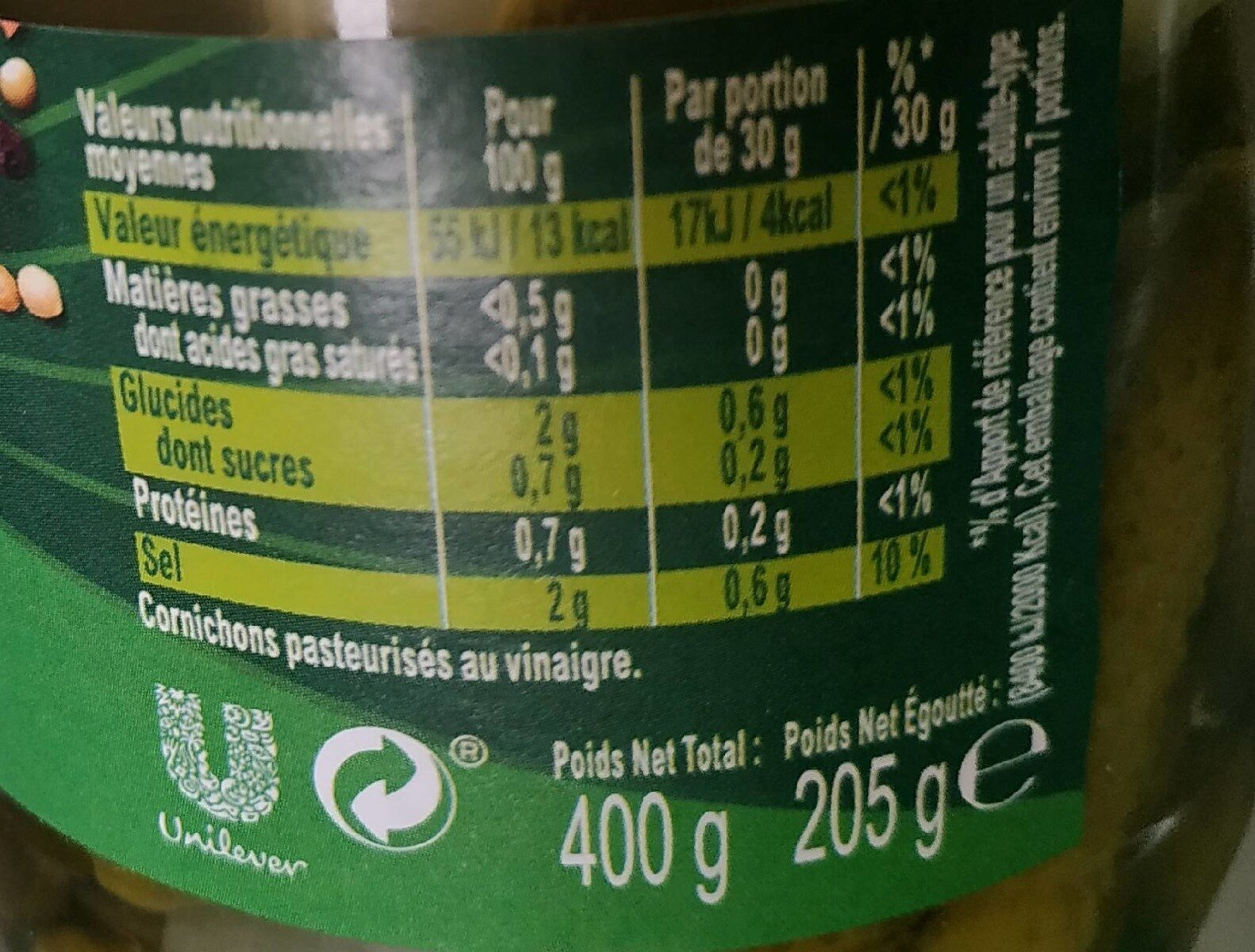 Amora Cornichons Extra Fin Bocal - Nutrition facts - fr