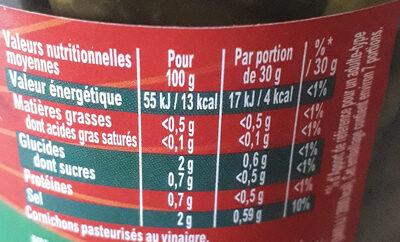 Amora Croq'Mini Cornichons Aux 6 Epices & Aromates Bocal 205g - Ingrédients - fr