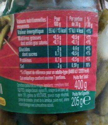 Amora Croq'Mini Cornichons Aux 6 Epices & Aromates Bocal 205g - Informations nutritionnelles - fr