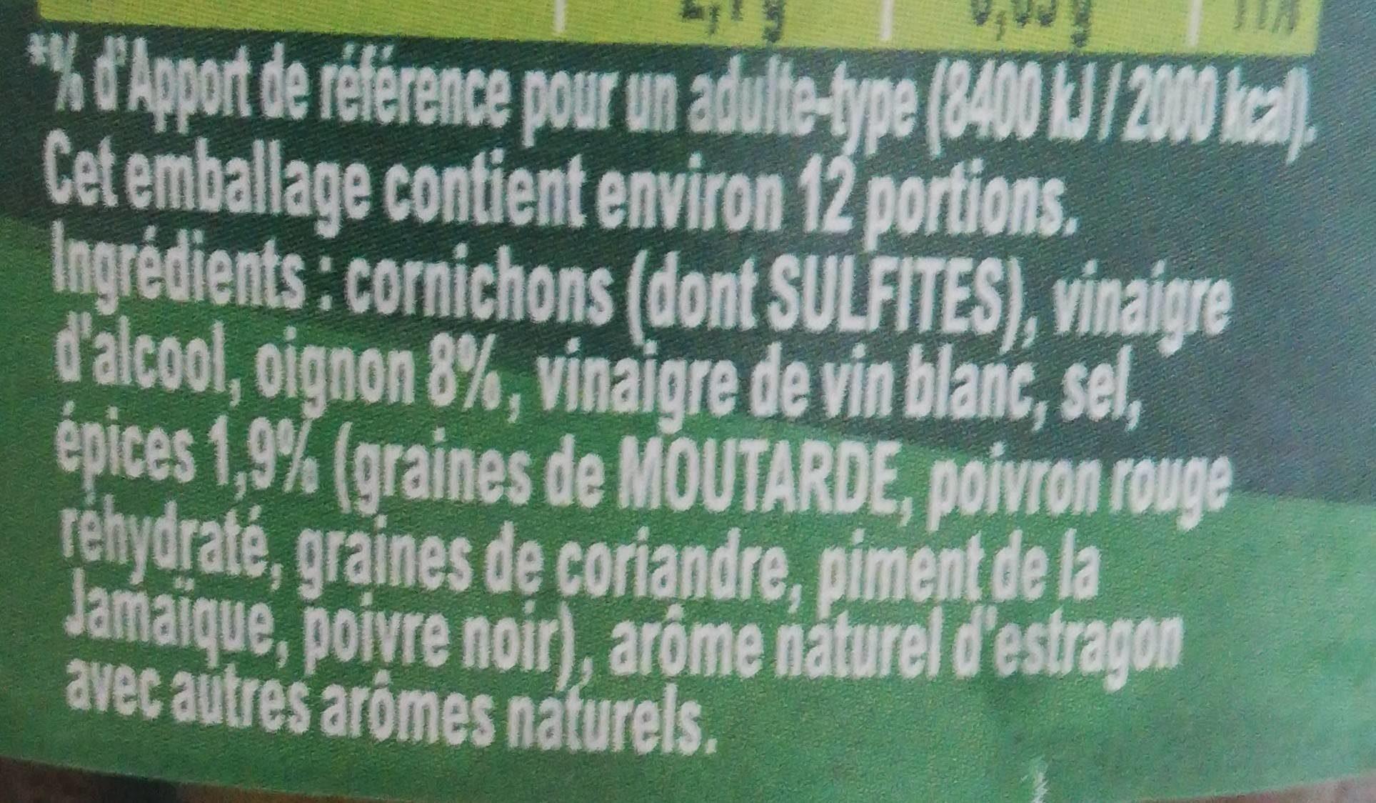AMORA Croq'Vert Cornichons Extra-Fins Bocal - Ingredients - fr