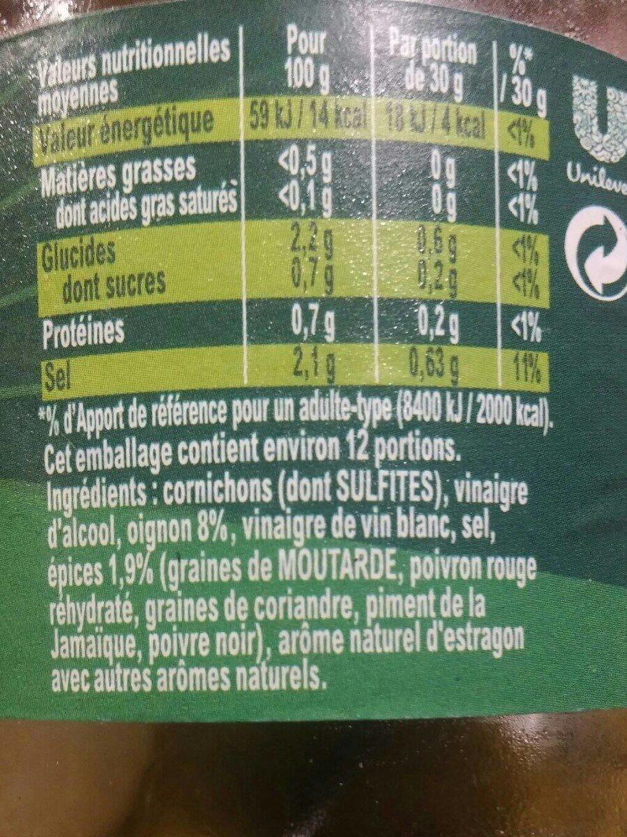 AMORA Croq'Vert Cornichons Extra-Fins Bocal - Nutrition facts - fr