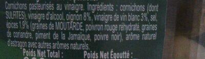 Amora Croq'Vert Cornichons Fins Bocal - Ingrédients - fr