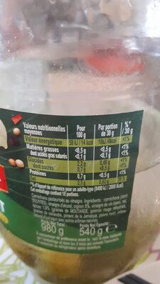Amora Croq'Vert Cornichons Fins Bocal - Informations nutritionnelles - fr