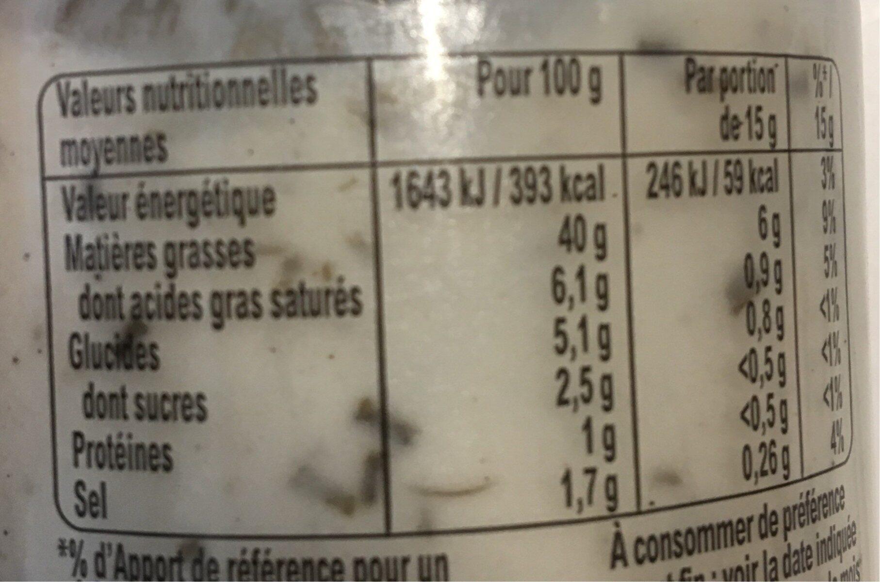 Amora Sauce Gourmet Crème à la Ciboulette et aux Echalotes de Bretagne Bocal 187g - Informations nutritionnelles - fr