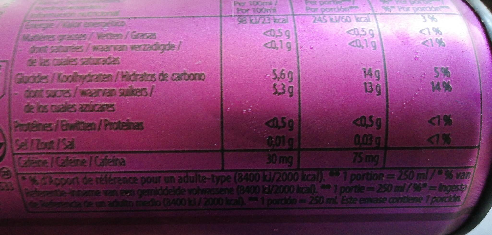 Yula acai berry spice - Valori nutrizionali - en