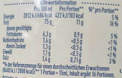 Real Mayonnaise - Informations nutritionnelles - de