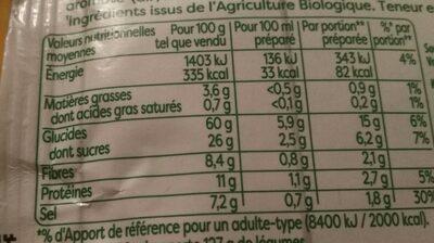 Knorr Soupe Bio Déshydratée Légumes du Potager - Voedingswaarden - fr