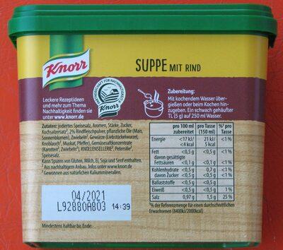 Suppe mit Rind - Ingrédients - de
