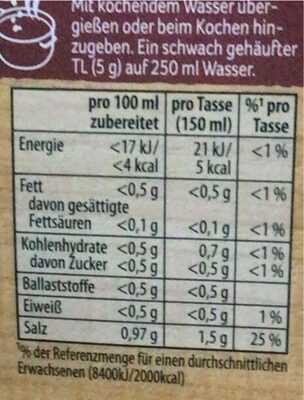 Suppe mit Rind - Informations nutritionnelles - de