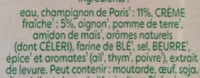 Knorr Velouté Bio Champignons à la Crème Fraîche - Ingrédients - fr