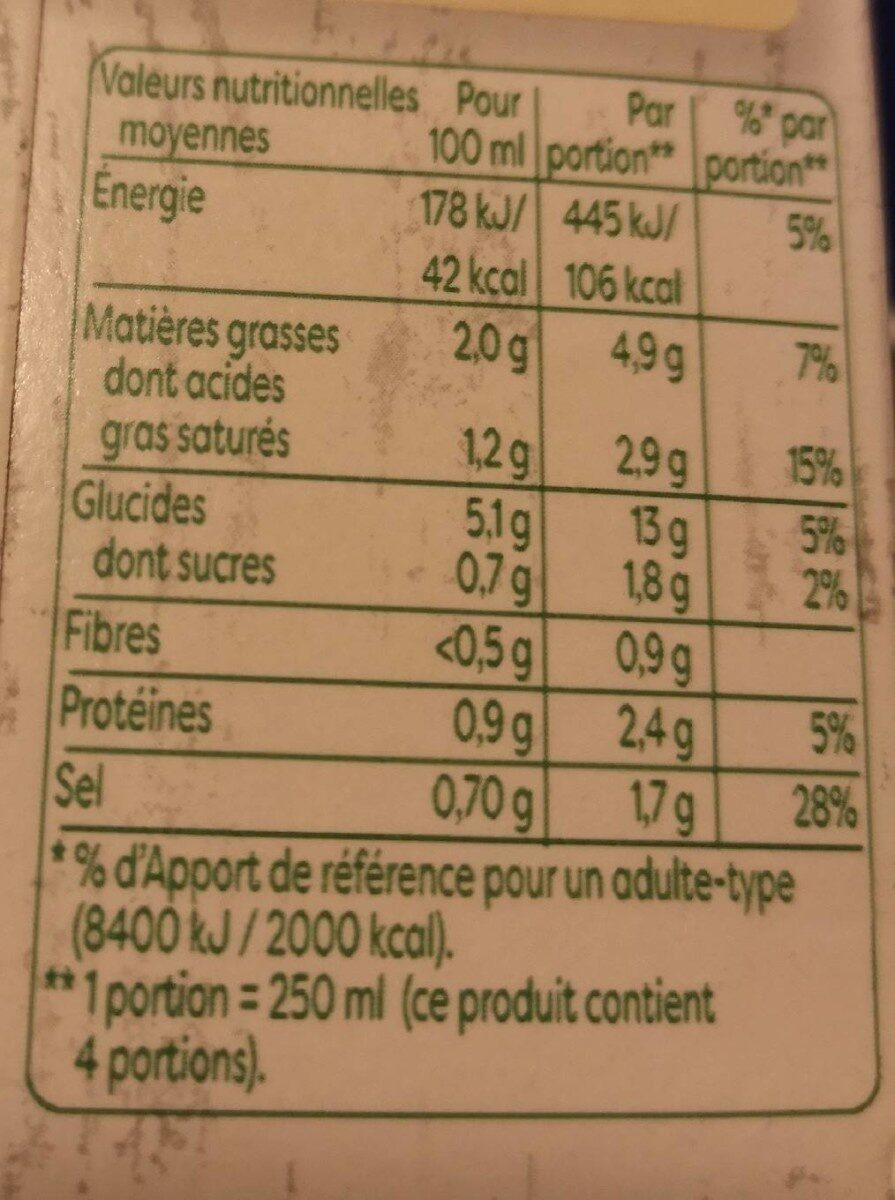 Knorr Velouté Bio Champignons à la Crème Fraîche 1L - Informations nutritionnelles - fr