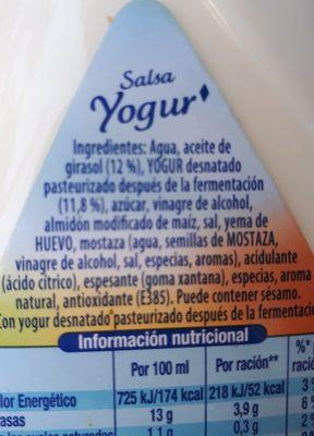 Salsa Per Amanida Iogurt - Ingredientes