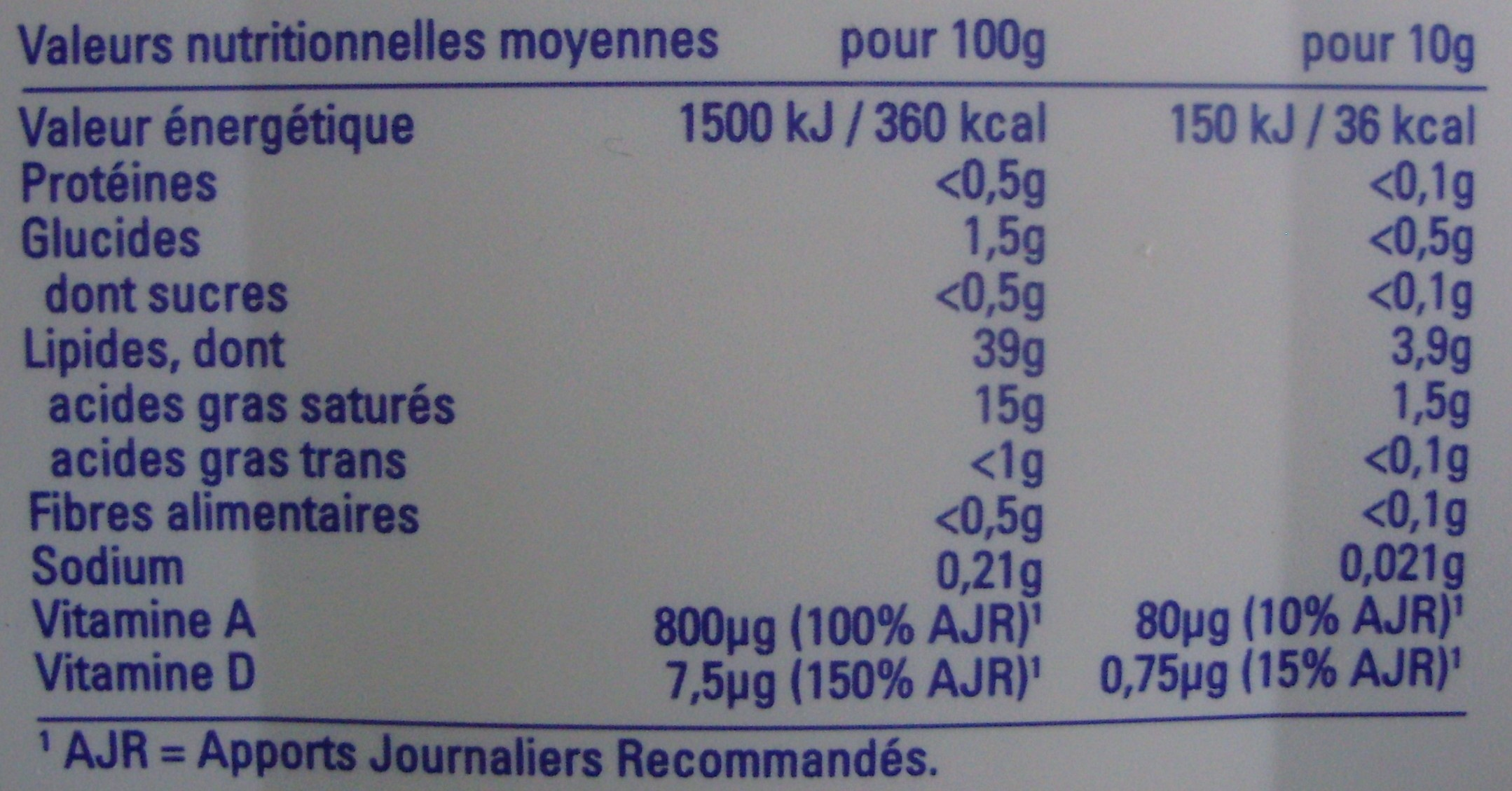 Tendre mousse (39% MG) Doux - 320 g - Planta Fin - Voedigswaarden