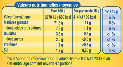 Amora mayo nat spl - Nutrition facts - fr