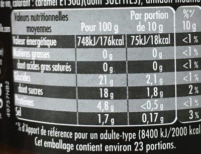Maille Spécialité à la Moutarde au Miel et au Vinaigre Balsamique de Modène 225g - Valori nutrizionali - fr