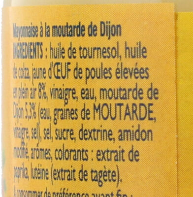 AMORA Mayonnaise de Dijon Bocal - Ingredients - fr