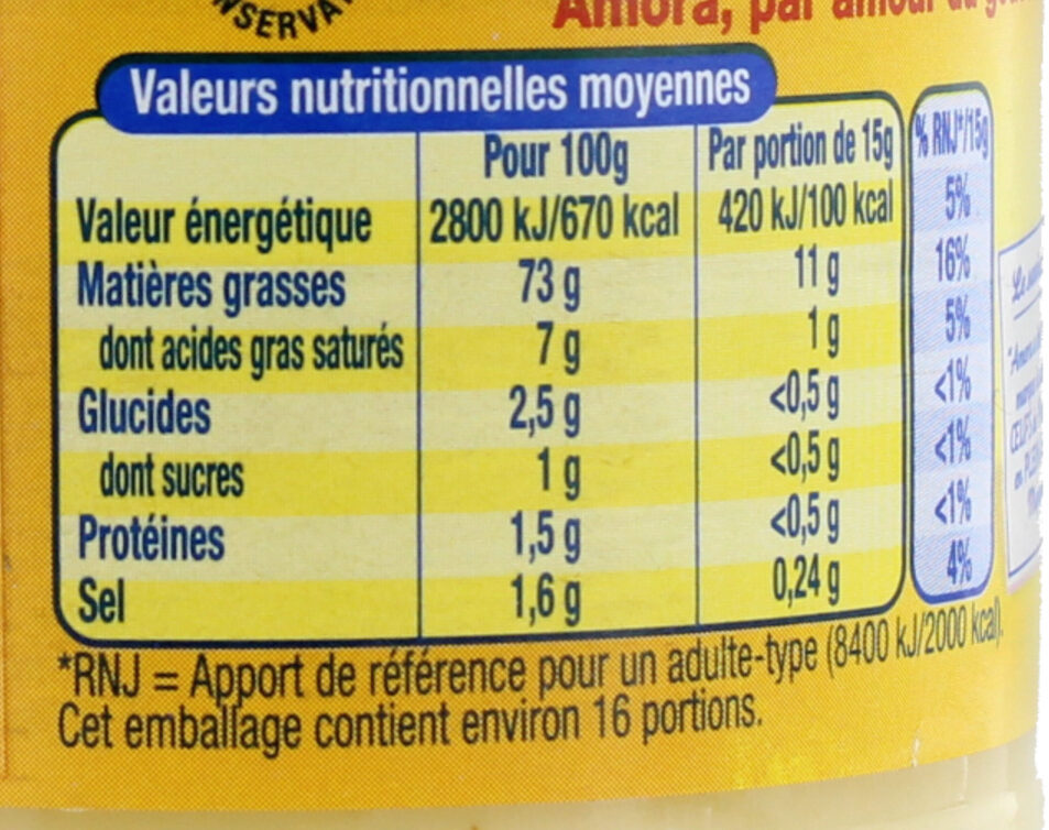 AMORA Mayonnaise de Dijon Bocal - Nutrition facts - fr